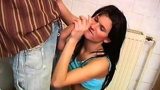 Teen suck cum Debbie fucked in public toilet