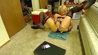 transvestite dildos fucks and eats cum