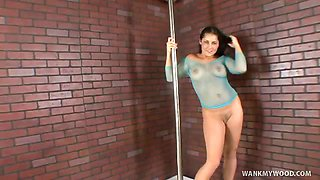 Brunette Stripper Jerks Off A Customer