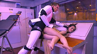 Sexy jedi knight provides her ass to drill by stormtrooper's cock