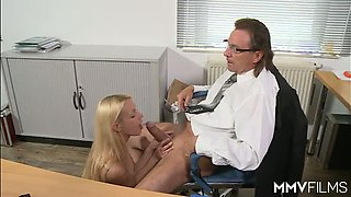 Petite blond secretary in slutty fishnets pleases her mature boss with solid BJ in the office