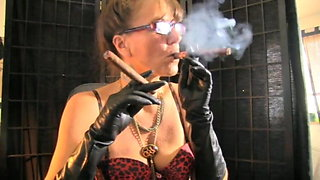 mature smoking 2 cigars