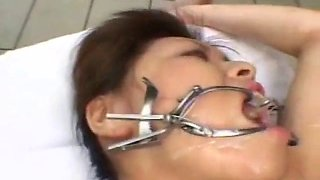 Asian choking and forced to swallow loads of cum by pool