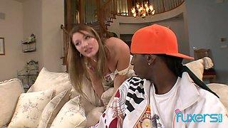 Sex-starved white milf seduces black fellow of her son