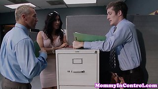 Bigtitted office milf fucks in workplace trio