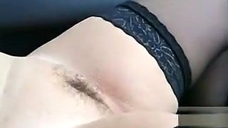 Casual guy strokes to my exhibitionist wife in the car