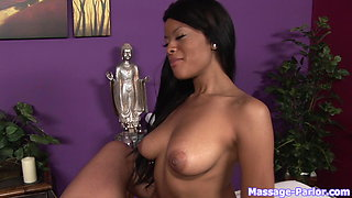 Ebony Goddess rubs him down until he cums in her mouth