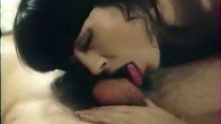 Stunning brunette hottie greedily sucks dick of her lover
