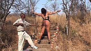 Big ass sex slave from Africa gets spanked and toyed by her