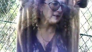 Mature flashing and sucking strangers cocks on public park