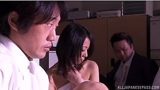 Asuka gets fondled and fucked from behind in hardcore cuckold scene