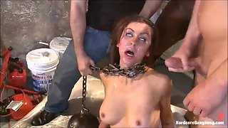 Part 3 of 4 beautiful brunette babe sex slave, forced gangbang, covered in cum &amp humiliated!