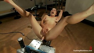 double machine penetration and vibrating fun for hot brunette