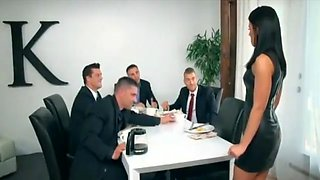 Group sex between a secretary and clients, on table