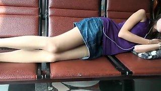 Touch Sleeping Girlfriend's Nylon Feet