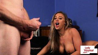 Busty UK babe instructing tugging guy