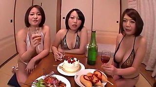 Hottest Japanese chick Shiori Yuino, Sachika Manabe, Yuki Maeda in Amazing Bikini, Group Sex JAV scene