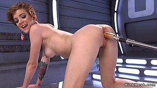 Slender tattooed solo babe bangs machine