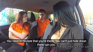 Busty redhead has ffm threesome in car