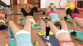 three sport lesbians fingering at gym