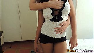 Thai tramp showing her big tits as she has sex with a tourist