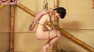 Pale skin slim brunette girl in extreme bondage session