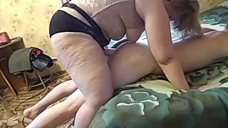 Mature Mom and her guy-son! Amateur strapon!