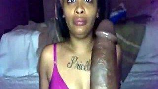 Attractive ebony girl sucking massive black dick deepthroat