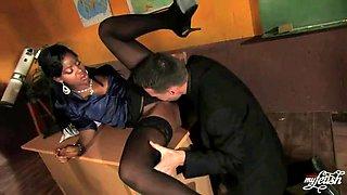ebony teacher gets pounded by big cock