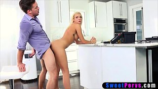 Stepsiblings fuck in the kitchen while dad fixes the tap
