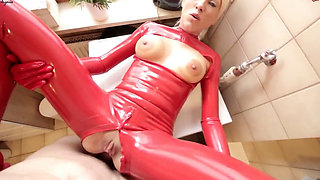 daynia sucking and fucking in red latex catsuit