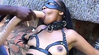 Crazy ebony beauty got some fetish domination outdoors
