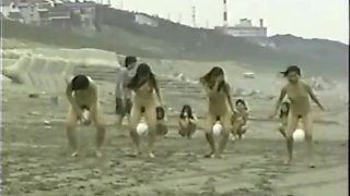 japanese nude girls ball playnig on the beach
