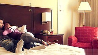Ava Addams and James Deen in a hotel room