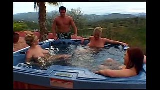 Three big natural tits cougar milfs hot group sex in pool,