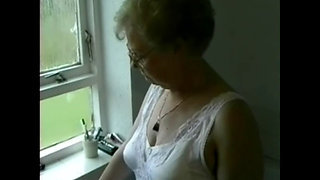 British granny in the bathroom