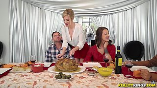Evelin Stone and Blake Morgan enjoy sharing a handsome man's dick