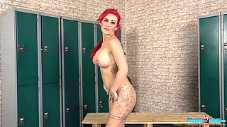 Wondrous bright redhead Roxi Keogh feels great when she flashes her tits