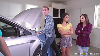 erotic teens suck off a hunky dude, while his car gets fixed
