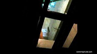 showering Korean stepmom filmed from the roof