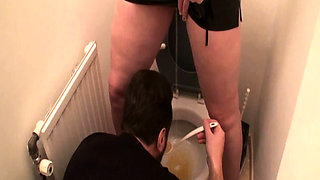 Femdom ladies humiliate slave at the toilet