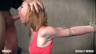 Mistress wearing strapon and her servant fuck tied up red haired chick Katy Kiss