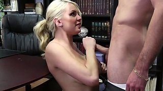 A blonde loses her clothes in the office and then she feels some cock