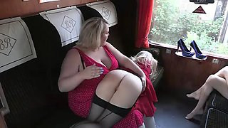Spanked on a train