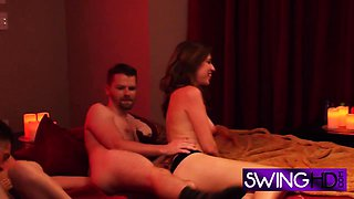 Swingers joining together for a hot erotic massage