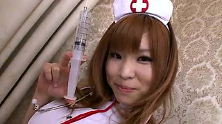 Naughty pink nurse gets a good seeing to with a vibrator and hard cock