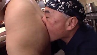 Rina Araki naughty Asian milf is fucked in the kitchen