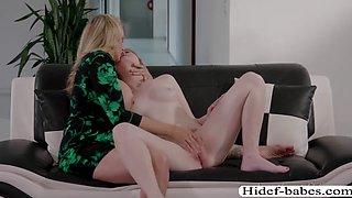 Slut chick Shyla in an intense lesbian fuck with Sasha