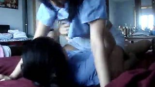 Luscious Indonesian maids are having lesbian sex on camera