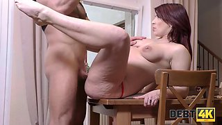 Collector can close debts if redhead with belly will undress